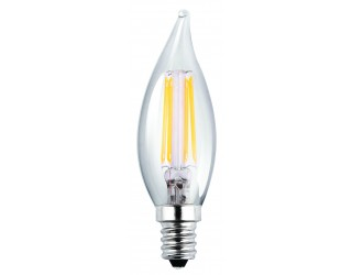 Luxrite LR21200 - LED4CFC/CL/27K - LED - 4 Watt - 120 Volt - Clear - Candelabra (E12) - CA8 - Flame Tip - Clear Finish - 2,700 Kelvin (Warm White)