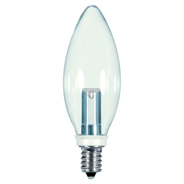 Satco S9152 - 1 Watt - 120 Volt - LED - BA9.5 - Candelabra (E12) - Clear - 2,700 Kelvin